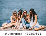 four beautiful girls on the... | Shutterstock . vector #432867511