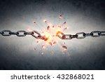 broken chain   freedom concept  | Shutterstock . vector #432868021