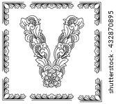 letter v  floral design. in... | Shutterstock .eps vector #432870895