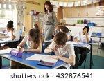 teacher walking in her busy... | Shutterstock . vector #432876541
