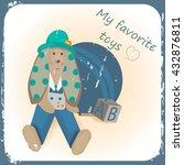 retro card with teddy bunny...   Shutterstock .eps vector #432876811