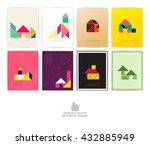 set of eight tangram houses.... | Shutterstock .eps vector #432885949