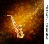 golden saxophone and flowing... | Shutterstock . vector #432901567