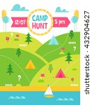 summer camp hunt  quest and... | Shutterstock .eps vector #432904627