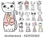 set of stylish cats. vector... | Shutterstock .eps vector #432920365