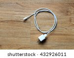 cable phone chargers on wood... | Shutterstock . vector #432926011
