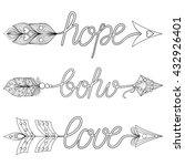 bohemian arrows  signs boho ... | Shutterstock .eps vector #432926401