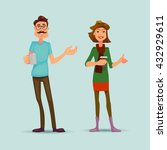happy hipsters boy and girl... | Shutterstock .eps vector #432929611