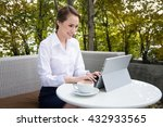 business woman with tablet... | Shutterstock . vector #432933565