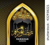 ramadan greeting card on black... | Shutterstock . vector #432938221