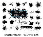 Vector set of artistic ink, watercolor splashes, ink blots. Black splatter collection.