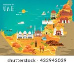 uae travel concept map with... | Shutterstock .eps vector #432943039