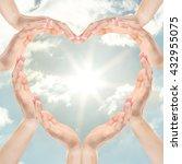 female hands in heart shape on...   Shutterstock . vector #432955075