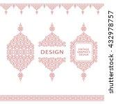 set of line art frames and...   Shutterstock .eps vector #432978757