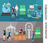 customers in the bank banner... | Shutterstock .eps vector #432985801