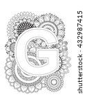 doodle floral letters. coloring ... | Shutterstock .eps vector #432987415