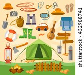 set of camping equipment icons... | Shutterstock .eps vector #432988741