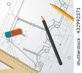 vector technical blueprint of... | Shutterstock .eps vector #432992371