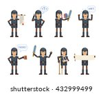 set of knight characters posing ... | Shutterstock .eps vector #432999499
