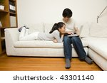 a young man watching pc with... | Shutterstock . vector #43301140