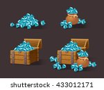 cartoon icons blue crystals...