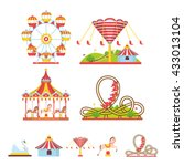 amusement park with swings ... | Shutterstock .eps vector #433013104