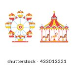 Amusement Park With Carousels...