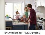 family preparing roast turkey... | Shutterstock . vector #433019857