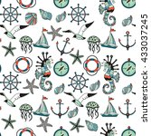 seamless pattern. set of sea... | Shutterstock .eps vector #433037245