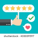 business hand thumb up with... | Shutterstock .eps vector #433039597