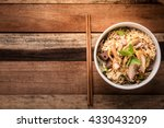 bowl of noodles with vegetables ... | Shutterstock . vector #433043209