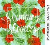 summer flowers typographical... | Shutterstock .eps vector #433047475