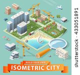 build your own isometric city.... | Shutterstock .eps vector #433051891