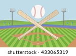 baseball field with baseball... | Shutterstock .eps vector #433065319