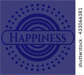happiness badge with denim... | Shutterstock .eps vector #433066381