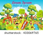 children playing on the... | Shutterstock .eps vector #433069765