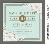 save the date  wedding... | Shutterstock .eps vector #433074874