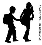 kids going to school together ... | Shutterstock .eps vector #433083919