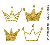 gold crown set isolated on... | Shutterstock .eps vector #433094581