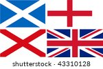 Scotland + England + Ireland = Union Jack flag (isolated vector illustration) - stock vector