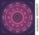 zodiac circle with horoscope... | Shutterstock .eps vector #433104175