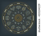 zodiac circle with astrology... | Shutterstock .eps vector #433104229