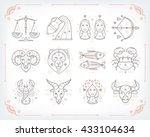 thin line vector zodiacal... | Shutterstock .eps vector #433104634