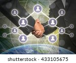 business handshake with social... | Shutterstock . vector #433105675