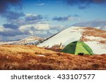 tourist tent in the mountains... | Shutterstock . vector #433107577