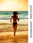 the runnig girl on a tropical... | Shutterstock . vector #43311412