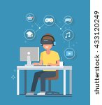 virtual reality concept... | Shutterstock .eps vector #433120249