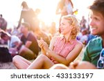teenagers at summer music... | Shutterstock . vector #433133197