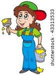 cute house painter   vector... | Shutterstock .eps vector #43313533