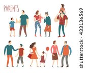set of cartoon people.parents... | Shutterstock .eps vector #433136569